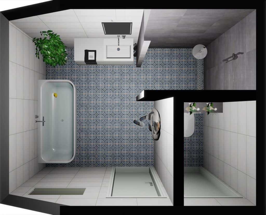 Voorbeeld 3D tekening badkamer