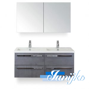 Djazz Amador 120 met spiegelkast Beton Antraciet vier lades